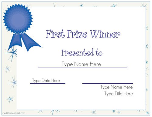 1st prize ribbon template - blank certificates first prize winner certificate