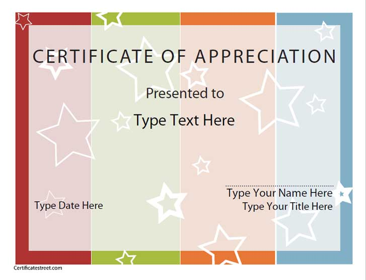 blank certificates of appreciation