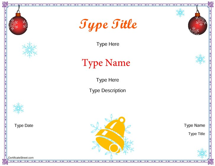 Blank certificates happy holidays award certificate for Certificate street templates blank