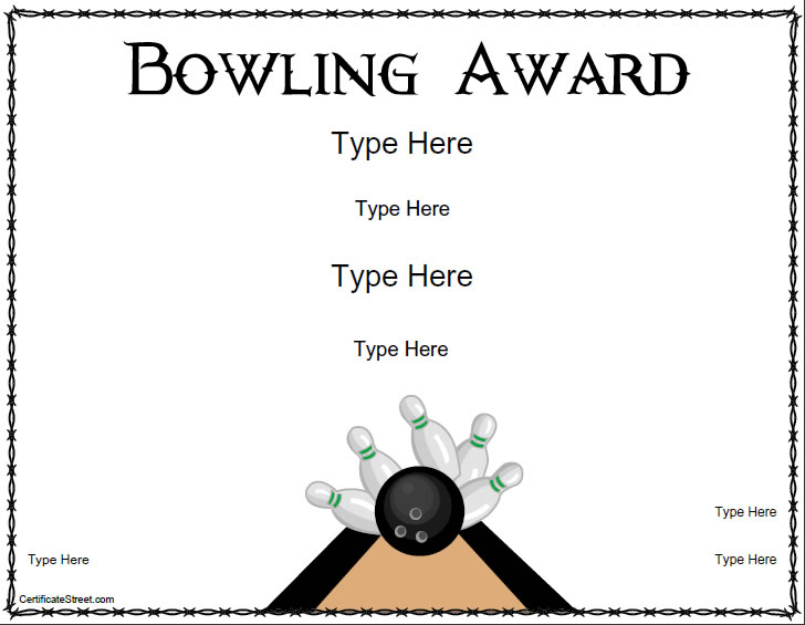 Blank certificates bowling award certificate template for Bowling certificates template free