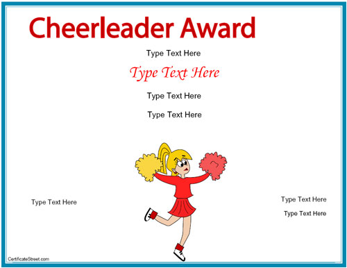 Blank Certificates - Cheerleading Award | CertificateStreet.com
