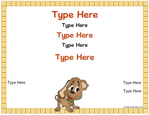 Blank certificates puppy certificate for Dog show certificate template
