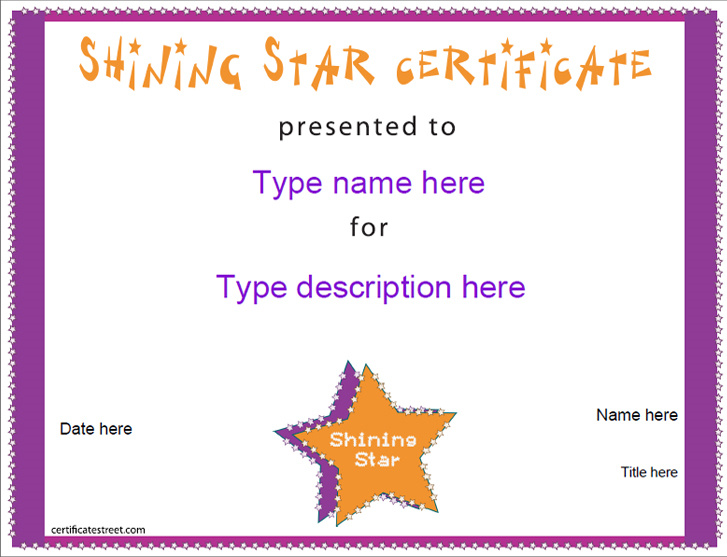 Education Certificates - Shining Star Award ...