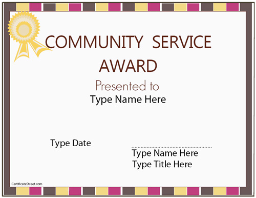 education certificates community service award