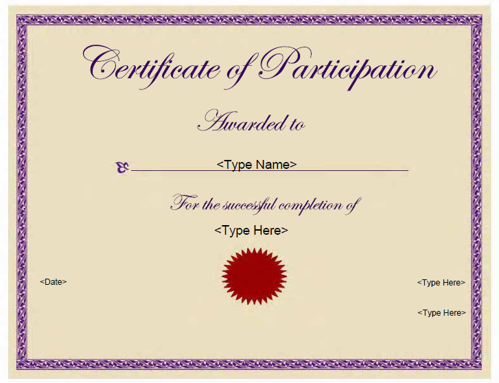 Certificate Of Participation Template Free Participation Certificate Template HAIRSTYLE GALLERY