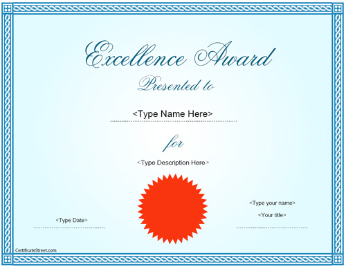 superlative certificate honors the behavior award was