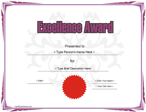 Free printable certificate of excellence template