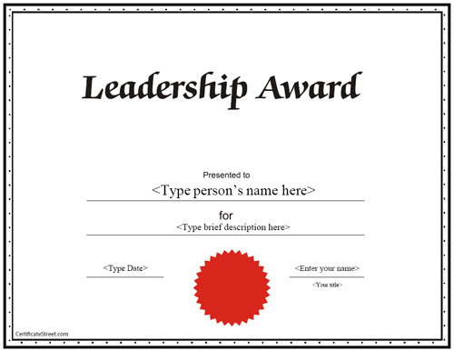 Education certificates leadership award certificate certificatestreetcom for Leadership certificate template