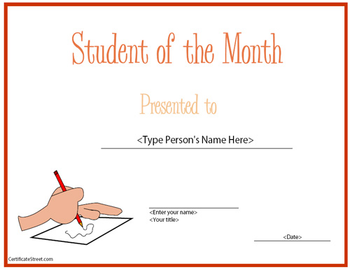 template for best student of the year award applicant