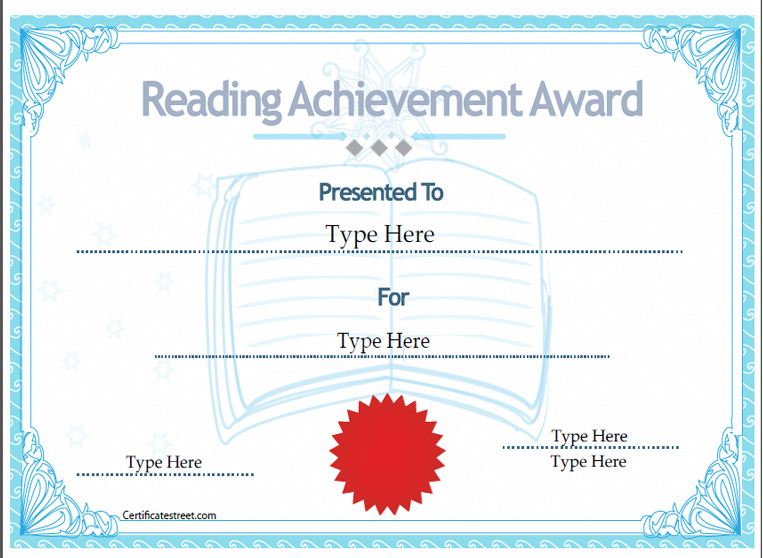 education certificates certificate of reading