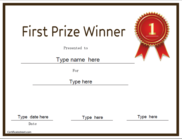 Education certificates first prize winner for First prize certificate template