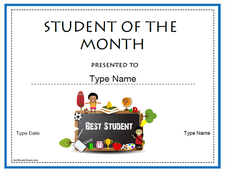 Student of the Month Award Template  Education World