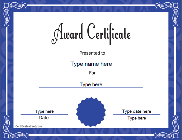 Education certificates award template for Certificate street templates blank