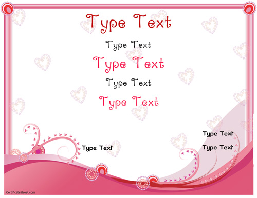 Relationships certificates romance love certificate for Certificate street templates blank