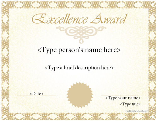 Thank You Award Template