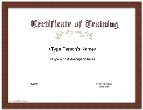 Special Certificates - Certificate of Training | CertificateStreet.com