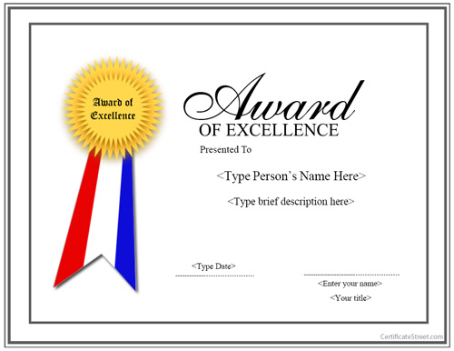 Special Certificates - Award for Excellence with Ribbon ...