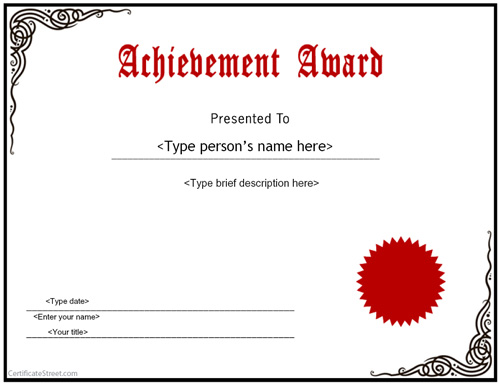 Achievement Awards Templates  Free Achievement Certificates