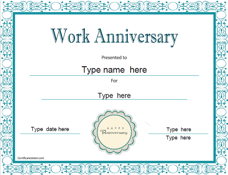 special certificates work anniversary