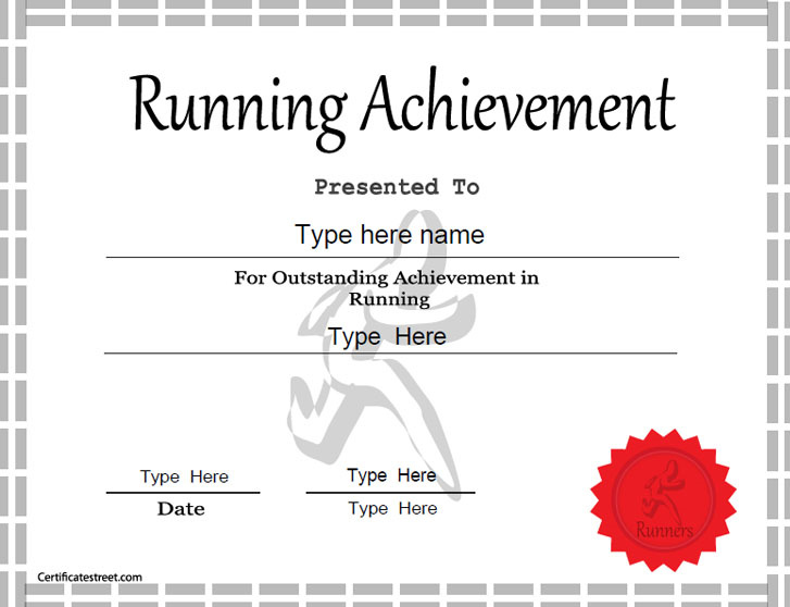 Sports certificates template for achievement in running for Cross country certificate templates free