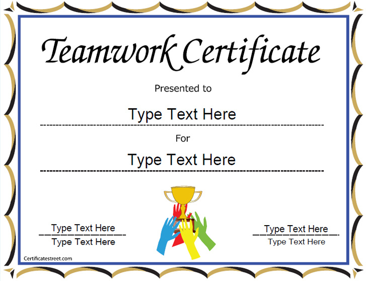 Special certificates award template for team work for Certificate street templates blank