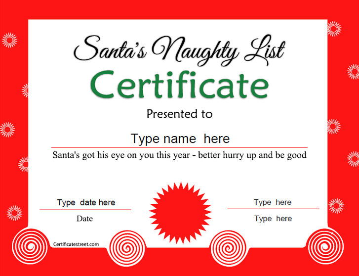 Special Certificates - Santa's Naughty List Certificate Tempalte ...