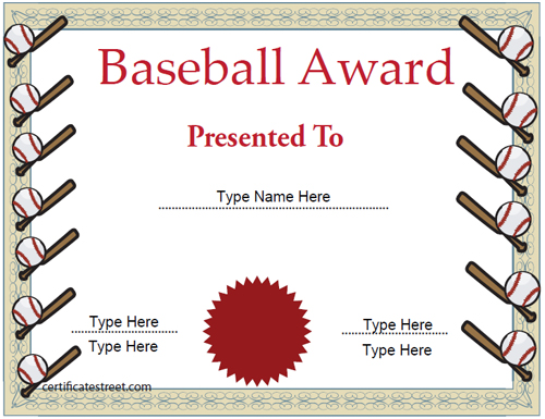 Certificate street free award certificate templates no registration required for Baseball certificate ideas