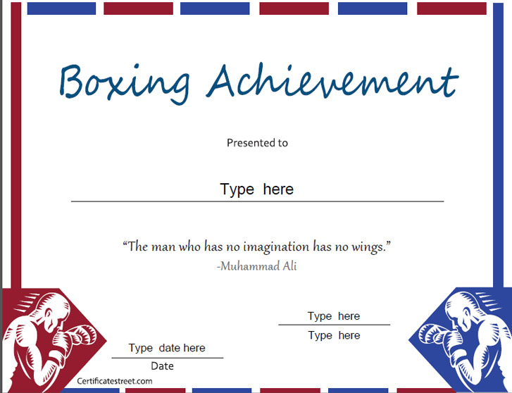 www gartnerstudios com certificates templates - sports certificates boxing achievement award